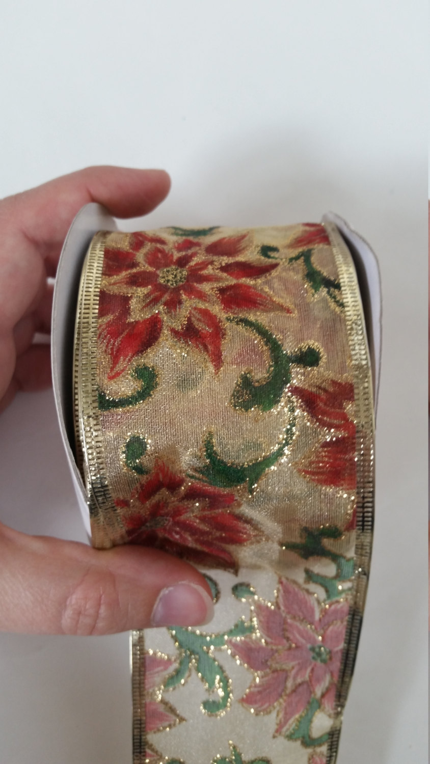 Luxury Gold Floral Wired Organza Ribbon