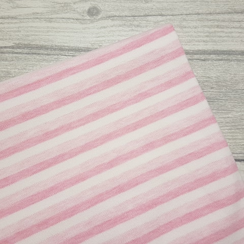 Baby Pink Stripe Double Jersey Knit Fabric