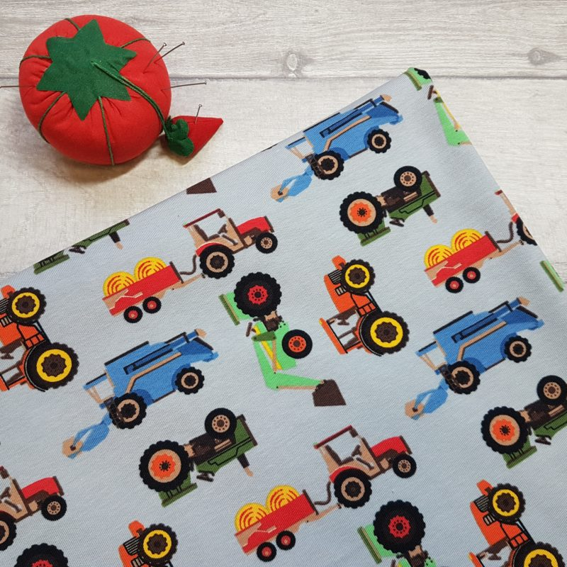 Farm Vehicles and Tractors Grey Cotton Lycra Jersey Knit Fabric