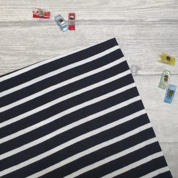 Black And White Stripe 13mm/5mm Cotton Lycra Jersey Knit Fabric