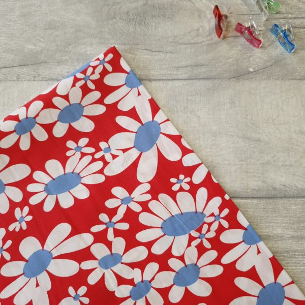 Bold Daisy Red Cotton Poplin Print