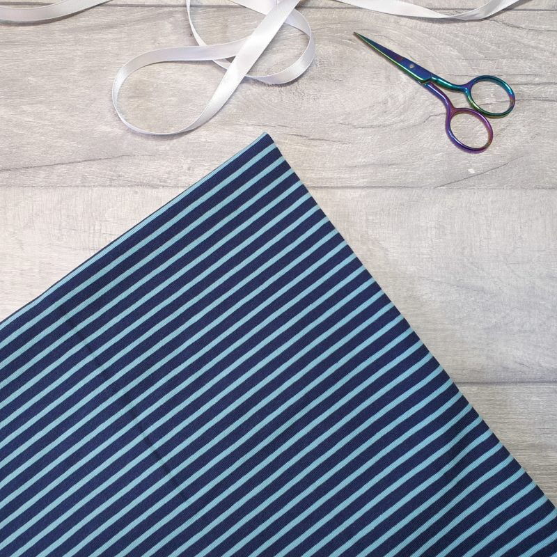 Turquoise on Navy Stripe Yarn Dyed Jersey