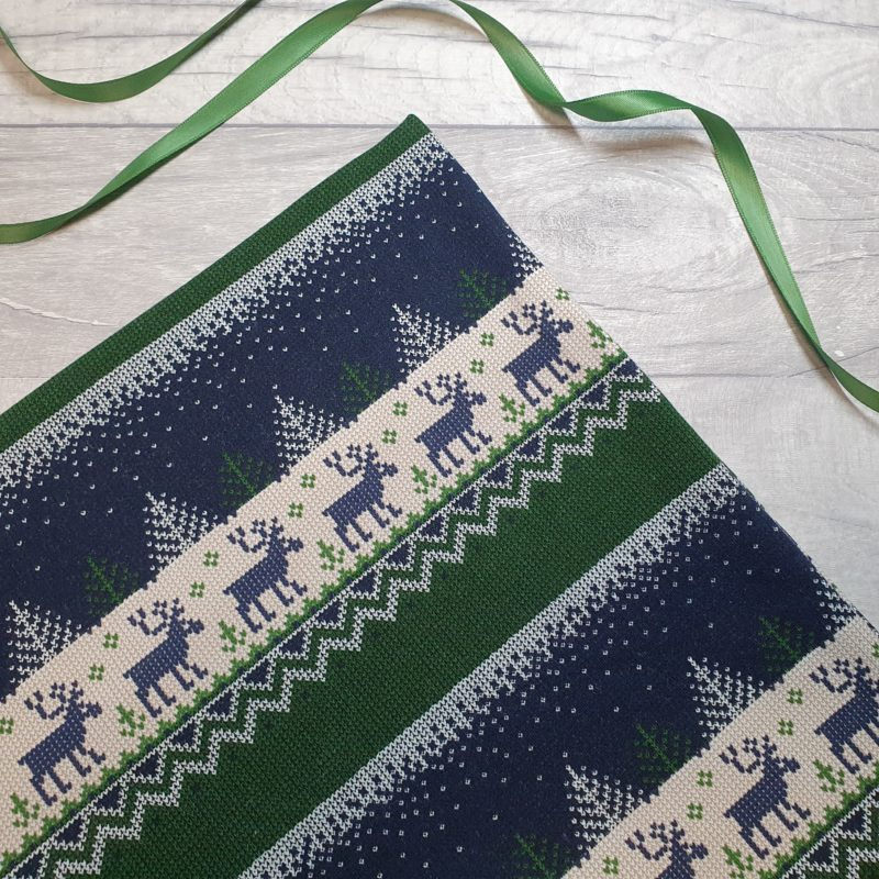 Christmas Jumper Reindeer Blue Brushed High Stretch French Terry
